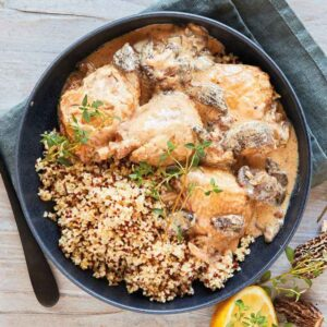Poulet aux Morilles med quinoa nem mad fra bonzo