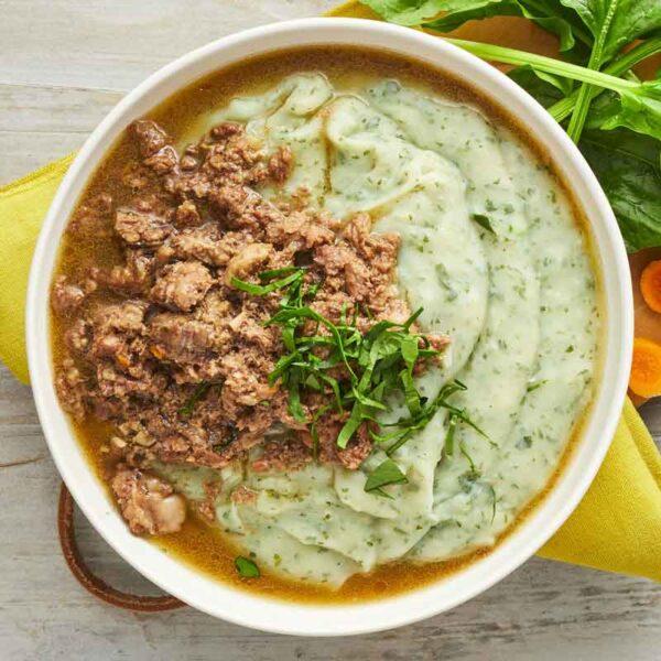 gullasch med kartoffelmos med spinat nem mad fra bonzo måltider