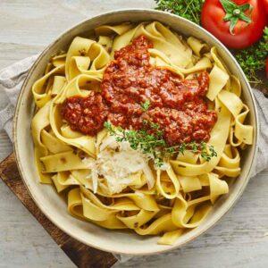 bolognese med pappadelle pasta nem mad fra bonzo måltider