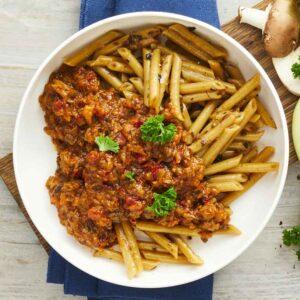 færdigretter pennette pasta med karl johan svampe og funghi con pomodori tomatsovs