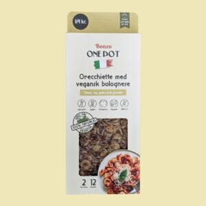 orecchiette pasta med vegansk bolognese færdigretter fra bonzo